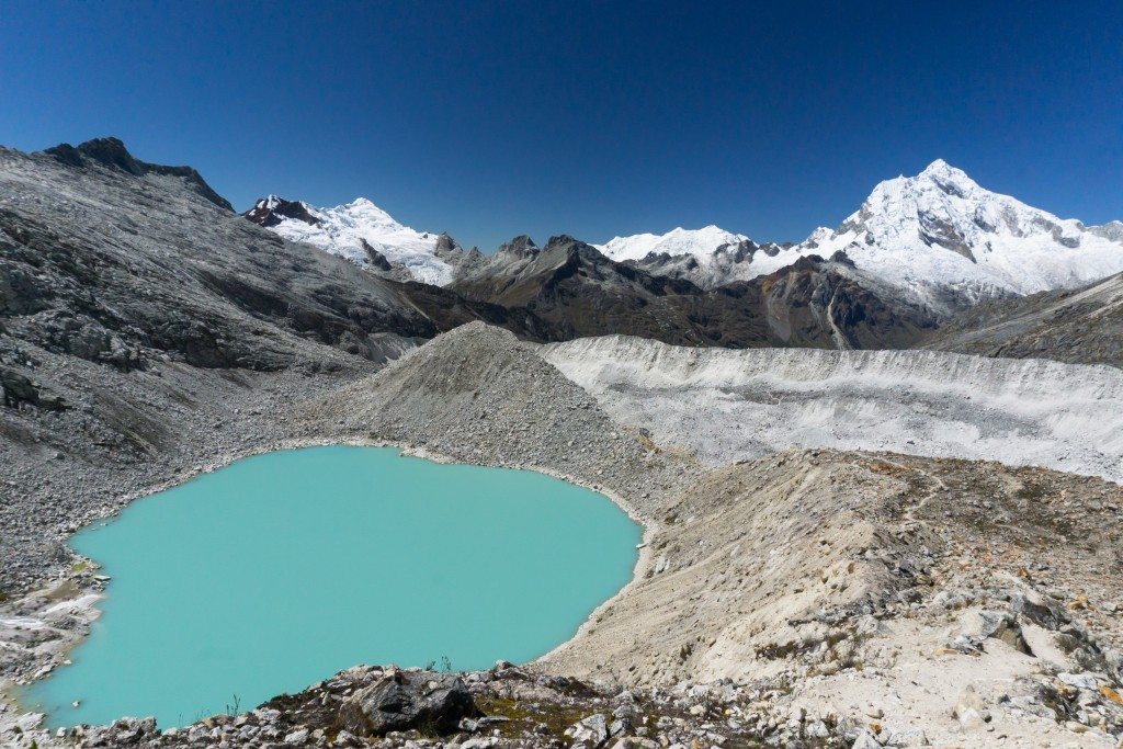 turquoise mountain lake in the Andes in Peru