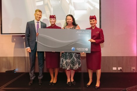 Adam Radwanski, Cabin Crew and Business Class Winner Belinda Morris at A380 Perth Event