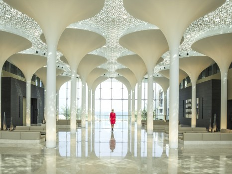 Kempinski Hotel Muscat - Lobby Interior with Lady in Red