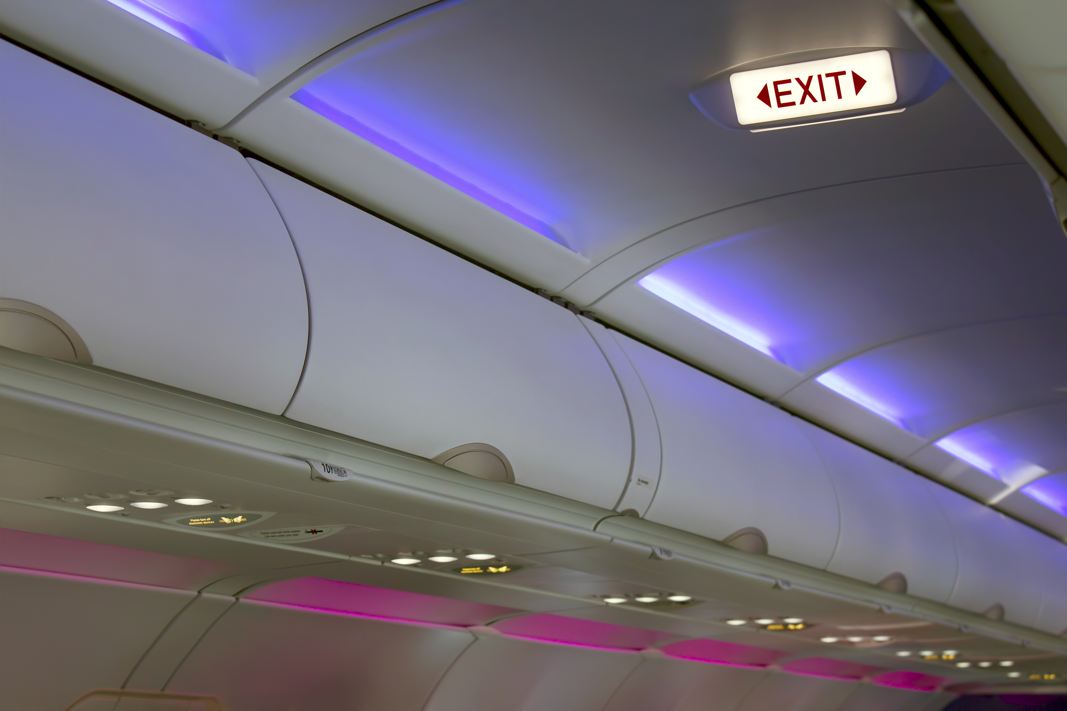 Airplane interior lighting and signs