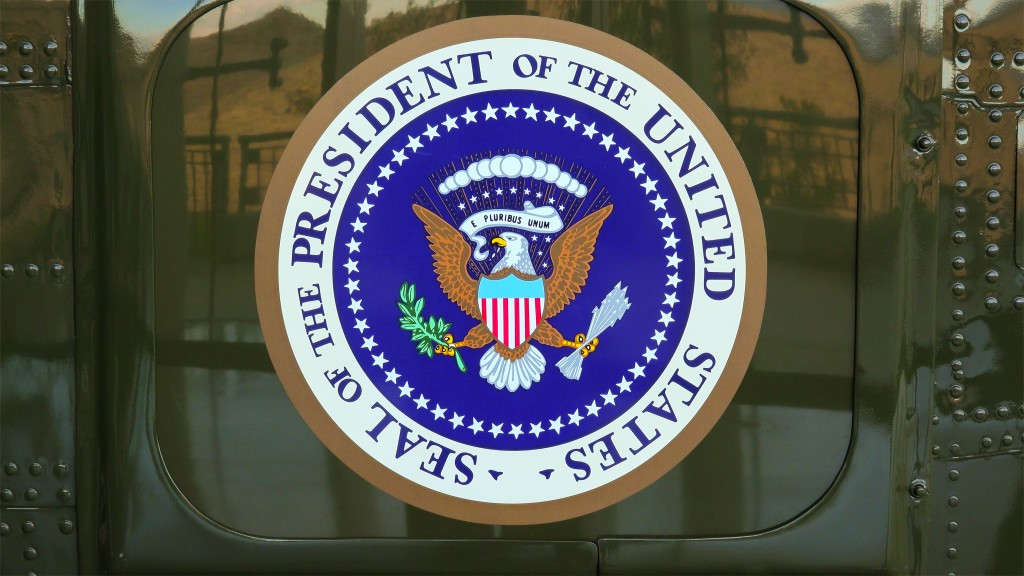 "Simi Valley, CA, USA - January 8, 2016: The original Presidential Seal on the side of Presidential Helicopter ""Marine One"" at the Ronald Reagan Presidential Library"